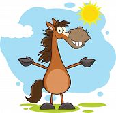Smiling Horse Cartoon Mascot Character