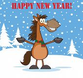Happy New Year Greeting With Smiling Horse Cartoon