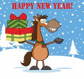 Happy New Year Greeting With Horse Cartoon