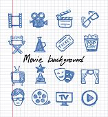 blue movie icon set