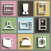picture of food processor  - Kitchen and house appliances flat icons set - JPG