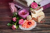 stock photo of salt-bowl  - Spa Settings with roses and salt in bowl  - JPG
