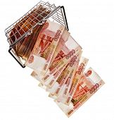 One Million Russian  Banknotes Rubles falling from shopping basket cart - isolated on white backgrou