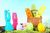 stock photo of ear candle  - Composition with funny handmade Easter rabbits - JPG