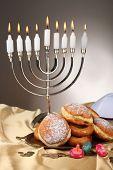 Festive composition for Hanukkah on cloth close-up