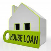 stock photo of borrower  - House Loan Home Showing Credit Borrowing And Mortgage - JPG