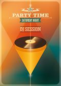 Modern party time poster with vinyl. Vector illustration.