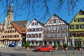 ESSLINGEN, GERMANY - APRIL 02,2014: Medieval buildings located at Market Square (Marktplatz) in Essl