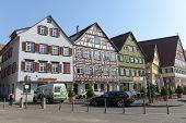 ESSLINGEN, GERMANY - APRIL 02,2014: Medieval buildings located at Market Square (Marktplatz) in Esslingen am Neckar near Stuttgart