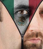 Unzipping Face To Flag Of Mexico