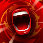 image of shout  - Open mouth shouting or singing in red space; Eps10;