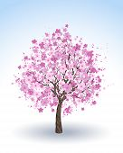 stock photo of white bark  - artistically painted pink flowering cherry tree on a white background  - JPG