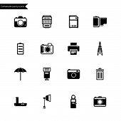 Camera Accessory Icons. Vector
