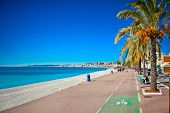 Promenade des Anglais in Nice, France. Nice is a popular Mediterranean tourist destination, attract