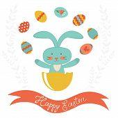 Easter rabbit hatching and juggling with Easter eggs