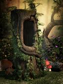pic of hollow  - Fantasy image with a hollow tree and mushrooms in the forest - JPG
