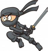 stock photo of ninja  - Cartoon ninja attacking - JPG