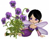 Cute Toon Purple Pansy Fairy, Sitting