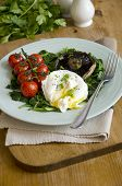 picture of portobello mushroom  - Poached egg with spinach Portobello mushroom and vine tomatoes - JPG