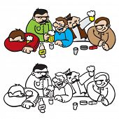 bunch of drunk people sitting cartoon illustration