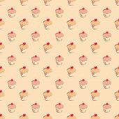 Seamless vector pattern or texture with little cupcakes, muffins, sweet cake cherry and red heart on