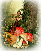 stock photo of pixie  - 3d computer graphics of a forest fairy with a flute sitting on a toadstool - JPG