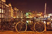 City scenic from Amsterdam in the Netherlands by night