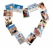 Heart shaped montage of happy, romantic, mixed race couples enjoying romantic lifestyle, at beach em