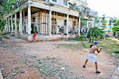Cuban youngsters playing baseball