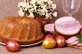 Traditional Easter cake and pork loin dish with easter eggs
