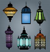 pic of middle eastern culture  - High quality vector set of arabic lantern part 2 - JPG