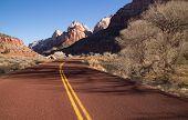 Road Sunrise High Mountain Buttes Zion National Park Desert Southwest