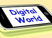 Digital World On Phone Means Connection Internet Web