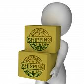 Shipping Boxes Show Freight Courier And Transportation Of Goods