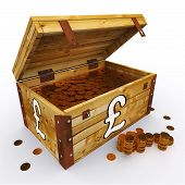 Pound Chest Of Coins Shows British Prosperity And Economy