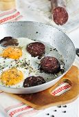 Fried Eggs And Blood Pudding Sausage
