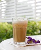image of frappe  - Iced coffee with soft cream on table - JPG
