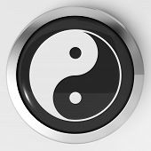 Ying Yang Button Means Spiritual Peace Harmony