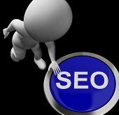 Seo Button Shows Internet Search Engine Optimisation