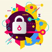 Lock On Abstract Colorful Spotted Background With Different Elements