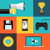 Playing Games Flat Icons Set