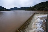 Reservoir of the Jándula in winter at full capacity after heavy rains, Parque Natural de Sierra More