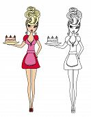 Housewife Serving Cake With Cream - Funny Doodle Illustration