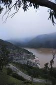 Panoramic view of the reservoir Jandula expelling water after several months of rain