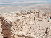 stock photo of masada  - view of Dead Sea from fortress Masada Israel