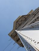 Metal designs of a tower of a ropeway in Barcelona, perspective view of one leg