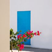 Mediterranean blue door details in Balearic Islands of Spain