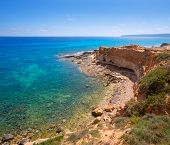 Formentera Cala en Baster in Balearic Islands of Spain high angle view