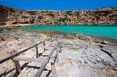 Formentera Cala en Baster in Balearic Islands of Spain with wooden rails