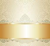 white & gold vintage invitation background design
